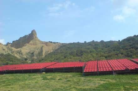 Gallipoli Peninsula: Galipolli - Seats set out for ANZAC day - © Alice Rawstorne