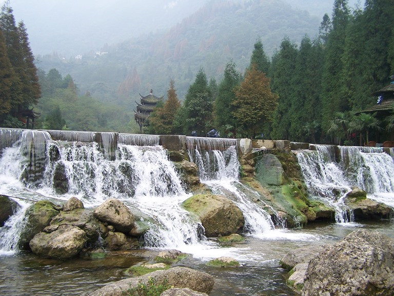 © Waterfalls at Mount Qingchen...