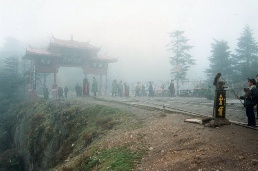 Emei Shan: The summit area, in cloud, monkeys - © William Mackesy