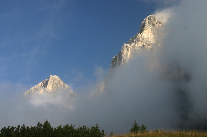 The Dolomites: Pelmo through clearing mist - © William Mackesy