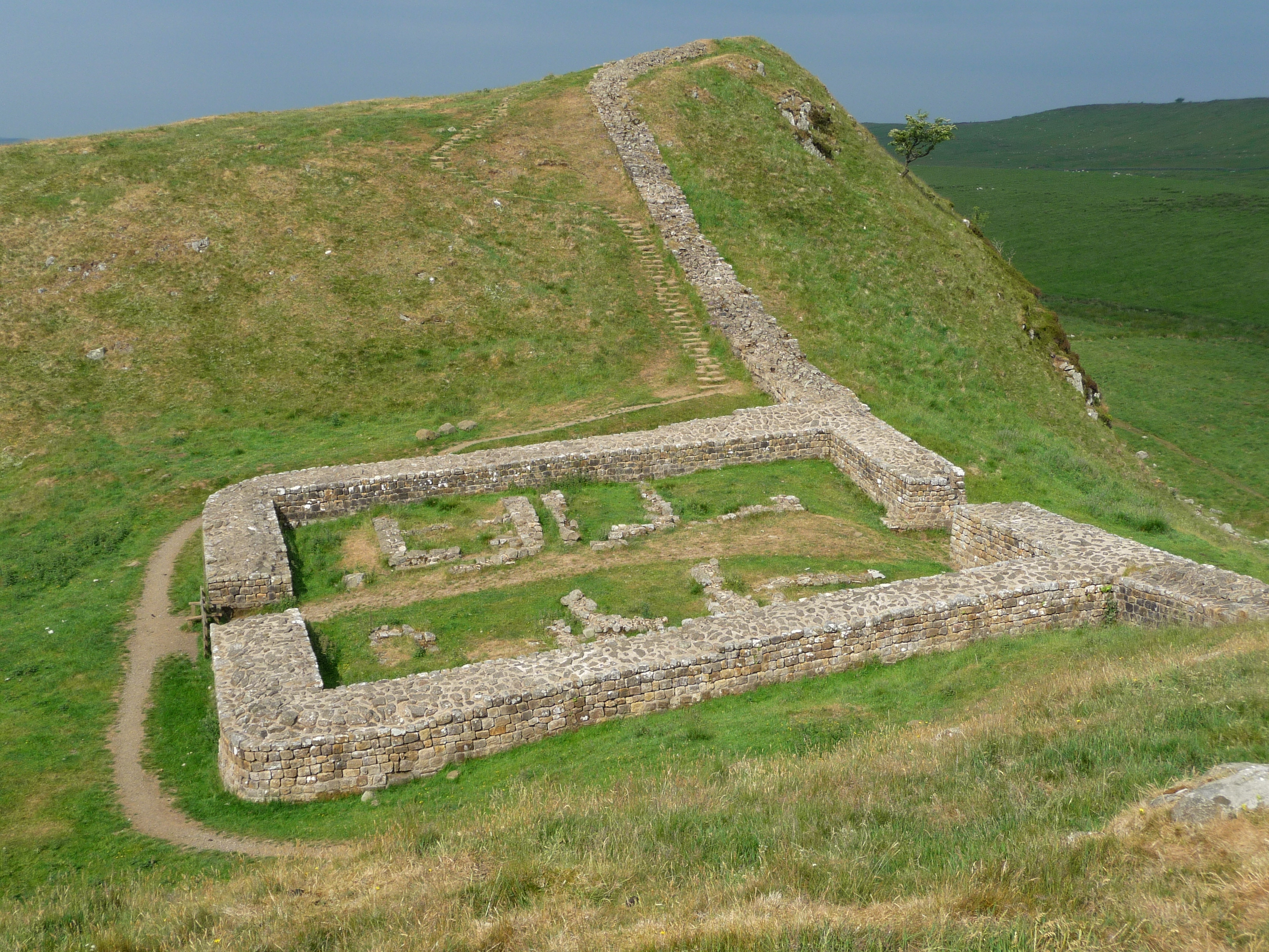One of the best remains of a milecastle built by the Romans to allow passage through the wall.