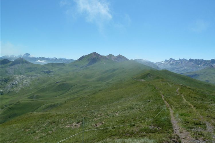 Pyrenean Haute Route: Looking east from Col de la Cuarde (1980m), Vignemale (3298m) on far left - 09082013 - © Dick Everard