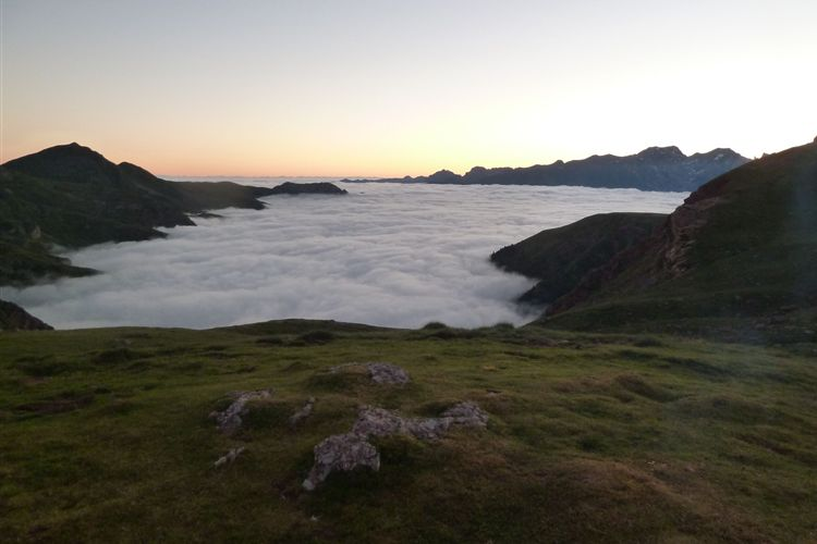 Pyrenean Haute Route: Morning cloud in the Betonce Valley near Refuge d'Arlet - 10082013 - © Dick Everard