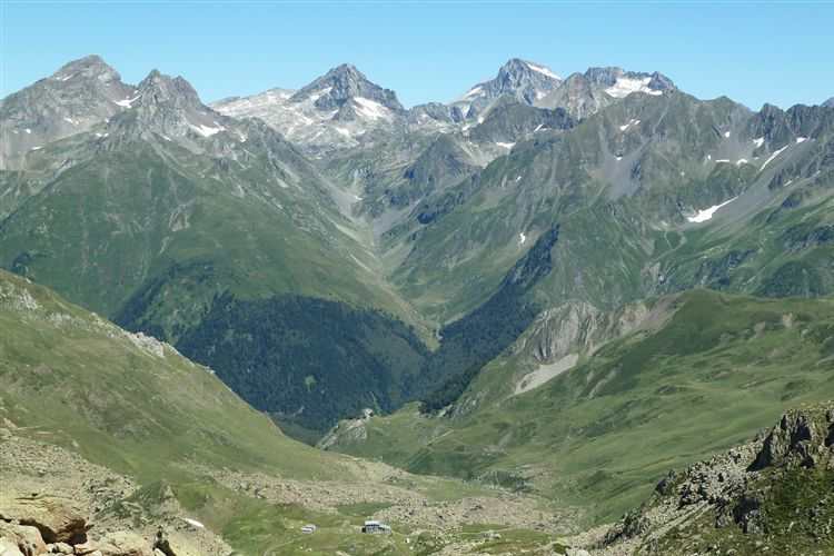 View east from Col de Peyreget (2300m) with Refuge de Pombie (2031) bottom centre - 11082013 - © Dick Everard