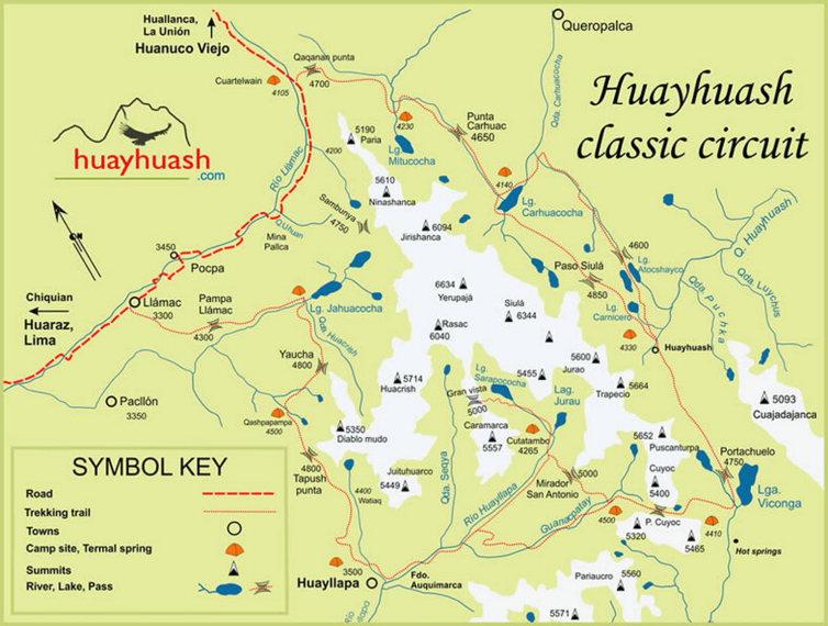 Huayhuash Circuit: Huayhuash circuit map