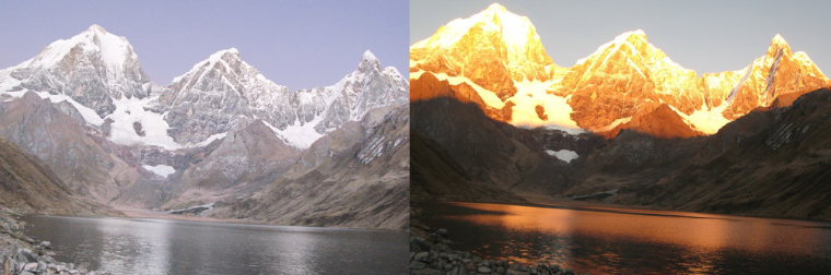 Huayhuash Circuit: Laguna Carhuacocha in evening and morning light - © Charles Bookman