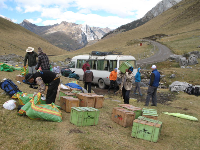 Huayhuash Circuit: Organizing gear for the burros - © Charles Bookman
