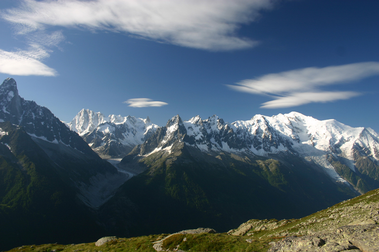 Lac Blanc and Southern Aiguilles Rouges Traverses: Mt Blanc From Aiguilles Rouges - © William Mackesy