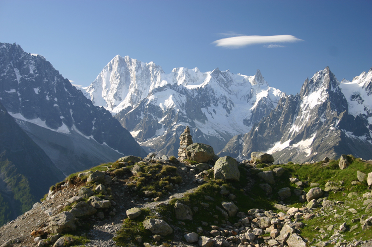 Lac Blanc and Southern Aiguilles Rouges Traverses: Mt Blanc From Lac Blanc, early morning - © William Mackesy