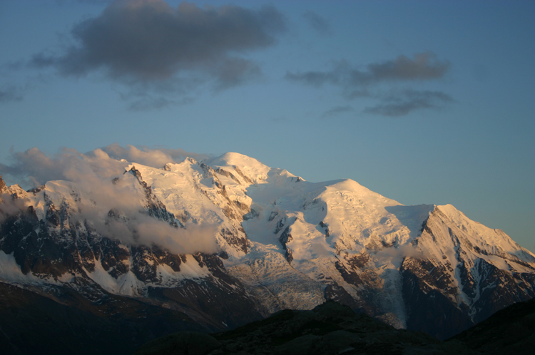 Lac Blanc and Southern Aiguilles Rouges Traverses: Mt Blanc From Lac Blanc, sunset - © William Mackesy