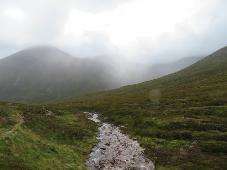 Lairig Ghru: Down into Garbh Choire from Lairig, wet day - © William Mackesy