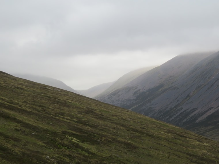 """Lairig Ghru: Toward Lairg Ghru from Devil""""s Point slopes - © William Mackesy"""