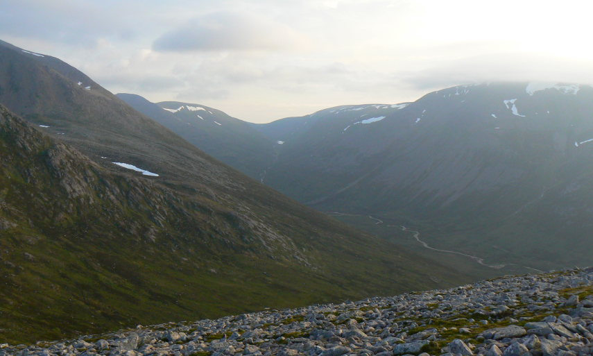 Upper Dee towards Lairig Ghru, from above Corrour Hut - © Flickr Nick Bramhall