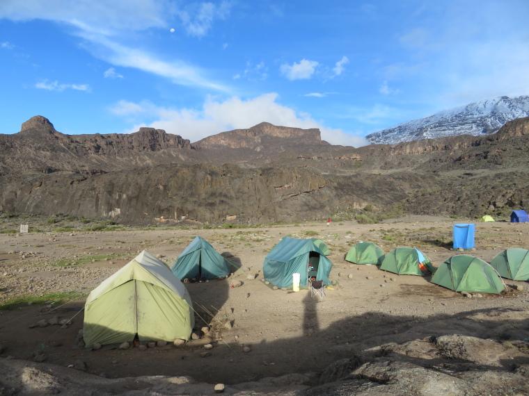 Mount Kilimanjaro : Moir Hut Camp, Lent Hill on ridge to left - © William Mackesy