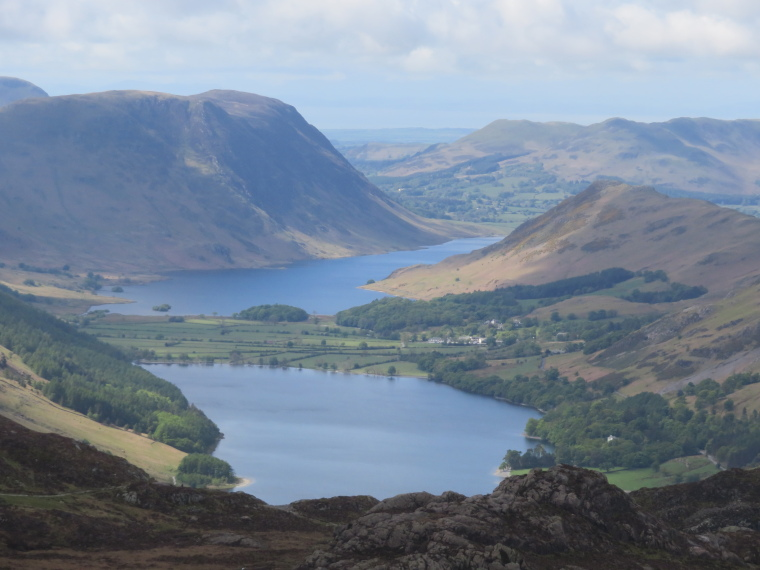 Coast to Coast: Buttermere and Crummock water from below Grey Knott - © William Mackesy
