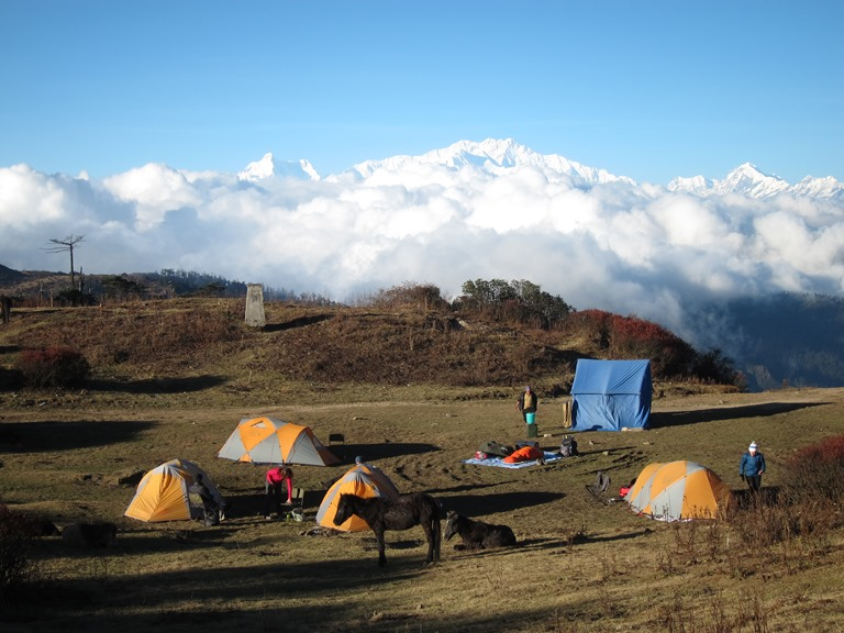 India Sikkim and nearby, Singalila Ridge to Kangchenjunga, Sandakphu campsite, Walkopedia