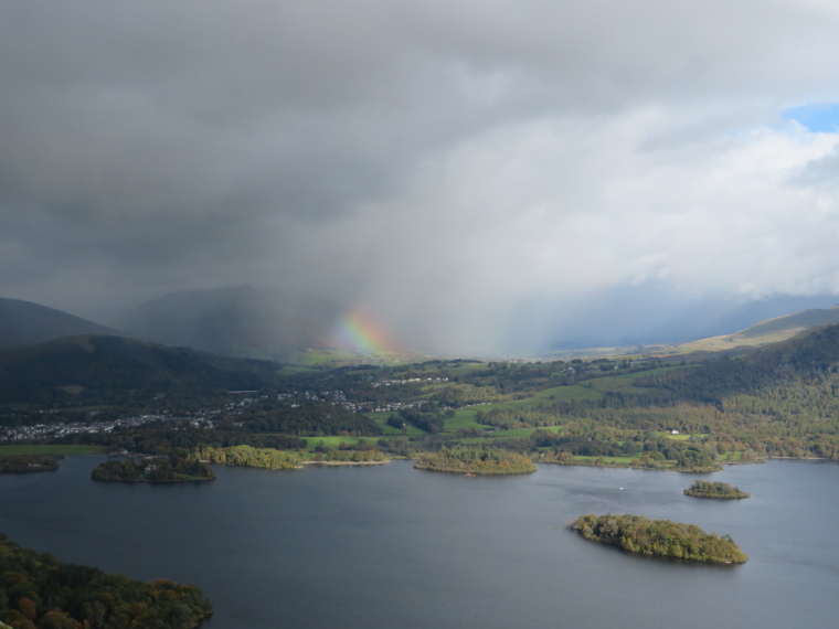 United Kingdom England Lake District, Catbells and High Spy, Rainbow effect over Derwent Water from Catbells, Walkopedia