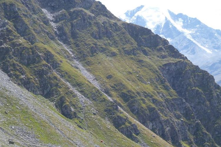 Beginning of path to Col Termin with Petit Combin (3663m) from Cabane du Mont Fort - 27th August 2015 - © Dick Everard