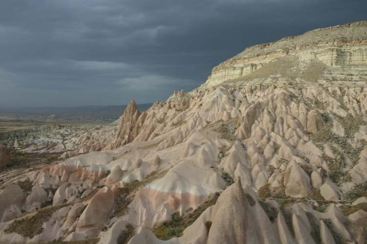 Turkey Central Anatolia Cappadocia, Ak Tepe, White Hill before evening storm, Walkopedia