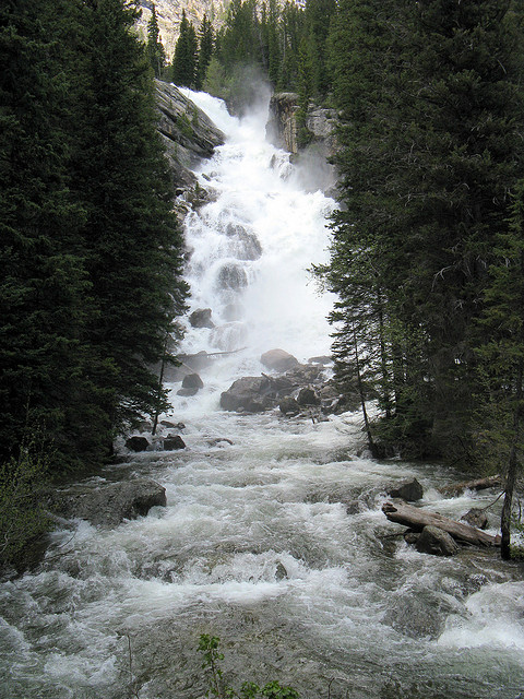 Grand Teton National Park - Hidden Falls - © Copyright Flickr User Andrew Kalat