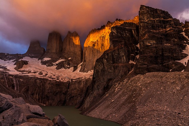 Torres del Paine Lookout - the Torres del Paine at sunrise - © Copyright Flickr user Phase Locked Loop