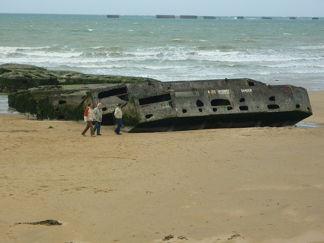 D-Day Beaches - Gold, remnants of Mulberry harbour - © Copyright Flickr user carolyngifford
