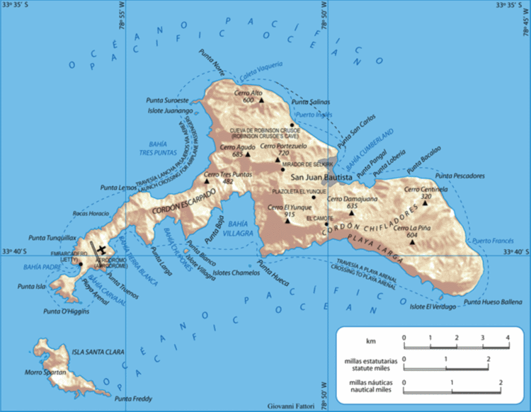 Juan Fernandez Islands - Map of the islands - © Copyright Wikimedia Commons, Gi