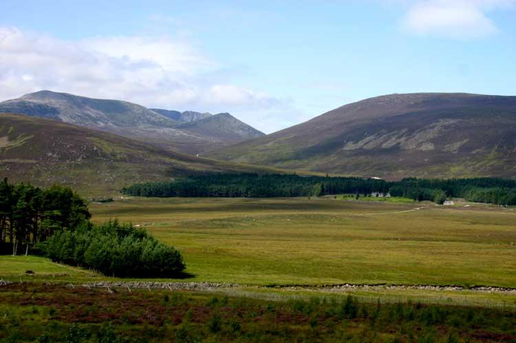 Across Glen Muick, Lochnagar cliffs appearing far off