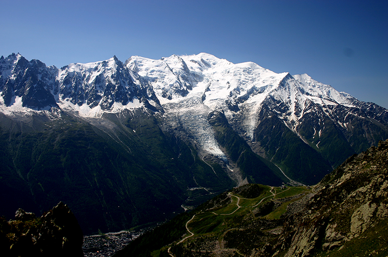 Mt Blanc, across Chamonix valley